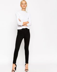 Image 4 ofASOS Ridley Skinny Ankle Grazer Jeans in Clean Black