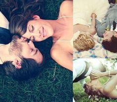 Удачные позы для свадебной фотосессии лежа