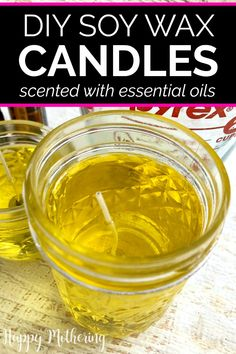 Learn how to make DIY soy wax candles in this easy tutorial. Making affordable homemade candles in mason jars is fun and you can scent them with essential oils. #candles #candlemaking #diycandles #homemadecandles #essentialoils #essentialoiluses #soywax #soywaxcandles #soycandles #essentialoilrecipes #homemaking #homefragrance #diyprojects #diy #howto #adultcrafts #makeyourown #makeityourself #giftideas #homemadegifts Beeswax Candles, Candle Wax, Diy Candles, Scented Candles, Citrus Essential Oil, Essential Oil Scents, Homemade Soy Candles, Diy Wax, Candlemaking