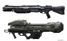 Halo 4 UNSC and Forerunner weapons. thanks to the 343 concept art team, especially Josh Kao and Gabriel Garza who contributed a lot to the design of these weapons. Battle rifle - Rail Gun - forerunner...