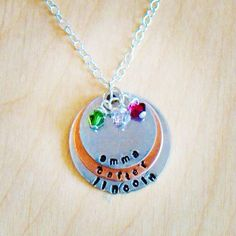Sibling hand stamped jewelry with birthstones  Www.facebook.com/lastingimpressionshandstampedjewelry Lastingimpressionsjewelryct@gmail.com #lastingimpressions #handstampedjewelry