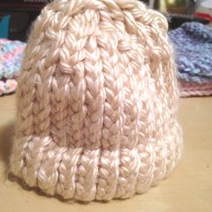 Ivory Loom Knit Hat, Baby. $15