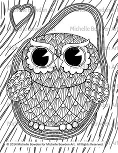 Owl Tree printable zendoodle coloring page by MichelleBowdenArt