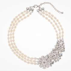 Crystal flower and pearl bridal necklace by Martine Wester