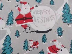 "Vintage Retro Wrapping Paper 2 Sheets - Unused Circa 1960s - 20"" x 26"" Christmas"