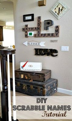 DIY Scrabble Tiles makes easy and inexpensive wall decor. #farmhouse #scrabble #walldecor #farmhousedecor