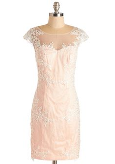 Perfectly Pastel Dress - Pink, White, Embroidery, Lace, Party, Cocktail, Pastel, Sheath, Cap Sleeves, Woven, Mid-length, Mixed Media, Lace, Wedding, Bridesmaid, Valentine's