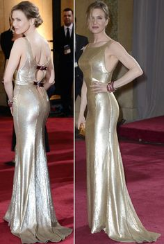 2013 Oscars Fashion Golden Fail: Renee Zellweger's custom made Carolina Herrera golden dress!