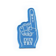 """For the apathetic sports fan in all of us.    2"""" x 3.75"""" embroidered patch  Iron or sew it on."""