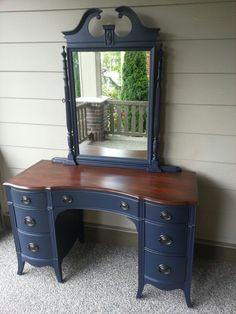 Antique vanity in coastal blue.  www.facebook.com/olcountrychic
