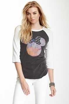 Watercolor Minnie Mouse Baseball Tee by Junk Food on
