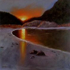"""Daily+Paintworks+-+""""36+x+36+inch+oil+Sunset+at+Crystal+Cove""""+-+Original+Fine+Art+for+Sale+-+©+Linda+Yurgensen"""