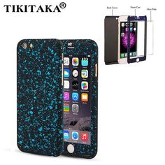 3D Stars 360 Case For iPhone 5 5s SE 6 6S Plus Ultra Slim Hard Frosted Full Body Cover Coverage Of 360 Degree + Clear Glass Film