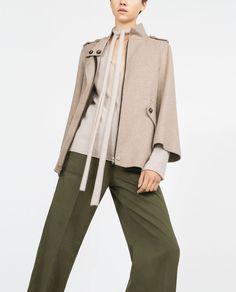 HANDMADE CAPE SLEEVE COAT-Coats-Outerwear-WOMAN   ZARA United States