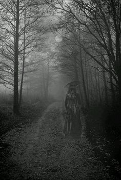 """Haunted Woods This reminds me of that movie with Nicole Kidman """"The Others"""". If u have not watched it and you like good scary movies, watch it. Spooky Places, Haunted Places, Dark Side, Scary, Creepy, Haunted Woods, Ghost Pictures, Dark Photography, Dark Places"""