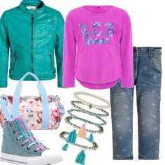 Look adatto alle ragazzine, piccole, ma già attente alla moda e al gioco dei colori. Per la piccola donna che ama prepararsi per andare a scuola o ad una festa glamour.