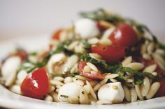 caprese orzo salad w/ toasted pine nuts