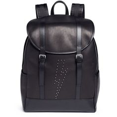Neil Barrett 'Memphis' lightning bolt stud backpack (£665) ❤ liked on Polyvore featuring men's fashion, men's bags, men's backpacks, black and neil barrett