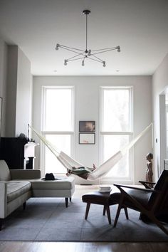 hammock crocheted hung in gorgeous living room