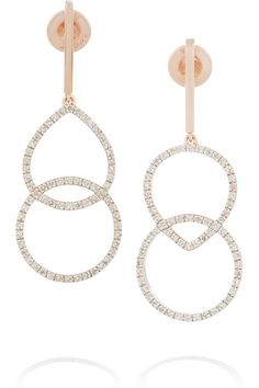 Monica Vinader - Naida Kiss rose gold-plated diamond earrings #MonicaVinader
