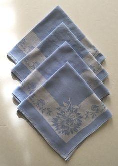 Damask Dinner Napkins Vintage Light Blue | eBay  $SOLD$