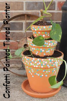 DIY Confetti Painted Tiered Planter by The Country Chic Cottage - Do More for Less