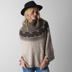 American Eagle sweater poncho Super cute AE sweater poncho. Great cowl neck and winter colors. Now that the weather is finally getting cold... American Eagle Outfitters Sweaters Shrugs & Ponchos