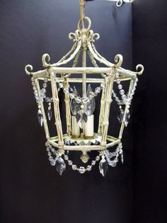 Brass Bamboo Crystal Leaves Chandelier Petite 3 by donDiLights