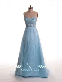 Princess Pale Strapless Beaded Bodice Bridesmaid Dress with Overlay Beaded Tulle