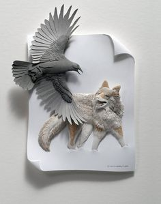 Artist's Delicate Paper Zoo Bridges the Gap Between 2D and 3D Art.Using scissors, a scalpel, glue, and an X-ACTO knife, the creator forms intricate paper sculptures that look as though they're about to come alive. - My Modern Met