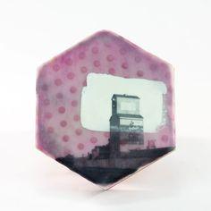 "Jamie Lang • tile 15_03 • adobe, encaustic, pigment • 6x5.5x1.5"""