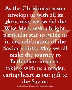 The Gift of Giving- 25 Days of Christ free printable quote from Thomas S. Monson.  Guest post by Kendra at The Things I Love.