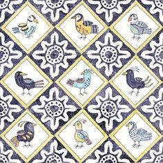 Delfty bird tiles. #handmadetiles #tiles #handpainted #handpaintedtiles #delfttiles #delft #tinglaze #birdtiles #bird #majolica #tile