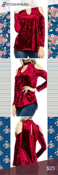 "S & L LEFT CRUSHED VELVET COLD SHOULDER TOP 95% Poly, 5% Spandex 25.5"" long Made In USA LIME N CHILI Tops"