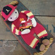 Ravelry: Melly Teddy Ragdoll Fireman Fred pattern by Melanie Grobler Crochet Lovey, Crochet Dolls, Crocheted Toys, Crochet Designs, Crochet Patterns, Lovey Blanket, Single Crochet Stitch, Yarn Over, My Face Book