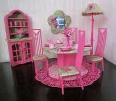 4 Barbie OOAK Monster High Bratz Doll House Dining Room House Furniture