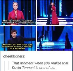 But wouldn't you fangirl if you just met JulIE ANDREWS?<----- Julie Andrews: the dream grandma! Julie Andrews, Dr Who, Rose Tyler, Doctor Who, Tenth Doctor, Space Man, Sherlock, Steven Universe, Crossover