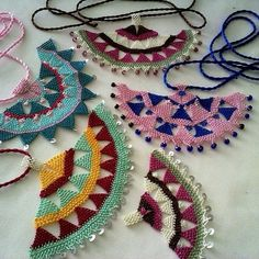 Large, flat 'oya' (Turkish lace work) are characteristic of the Izmir region… Bead Crochet, Crochet Motif, Crochet Lace, Crochet Earrings, Textile Jewelry, Fabric Jewelry, Needle Lace, Bobbin Lace, Lace Weave
