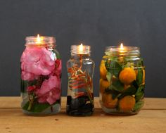 Make gorgeous oil lamp from mason jars and glass bottles. Safer than candles, it takes only 2 minutes to make using vegetable oils and water! - A Piece Of Rainbow Blog