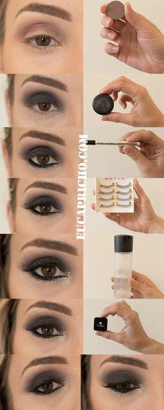 tutorial maquiagem para o natal, olhos pretos com glitter #GlitterRosto