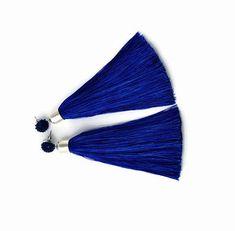 Navy blue #earrings  Silk #tassel  earrings #fringe  earrings Boho