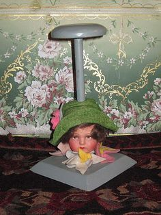 SUPERB Rare Antique Lenci Type Doll Head Hat Stand!