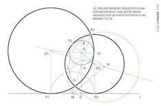 Circunferencia tangentes a circunferencia y recta por puntos. Problema de Apolonio · Dibujo Técnico Dado, Line Chart, Plane Geometry, Drawing Techniques, Dots