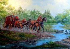The Morning Stage an original oil painting by Highway22 on Etsy, $1500.00