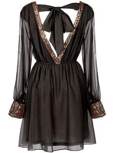 Libertine Wink Dress | Long-Sleeve Black Sequin Party Dresses | Rickety Rack