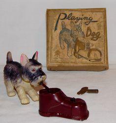 "Vintage Wind Up Celluloid ""Playing Dog"" In Original Box W/ Key MIOJ"