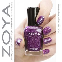 Dress up your manicure with one simple step - just add a little bling! Here's Zoya Aurora with a rhinestone accent. Nail Polish Style, Purple Nail Polish, Purple Nails, Nail Colors, Colours, Nail Envy, Heart Nails, Perfect Nails, Nail File