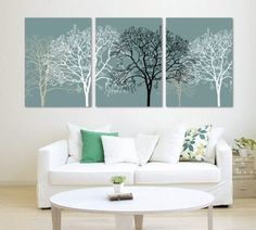 3 Piece Black and White Abstract Trees Split Canvas Picture of Art Wall Canvas Artwork, Framed, Ready to Hang, All Images on Large, Real Wood Frames #14-167