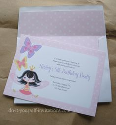 Printable butterfly fairy princess invitations with matching kit including envelope liners, banners, cupcake toppers and more.