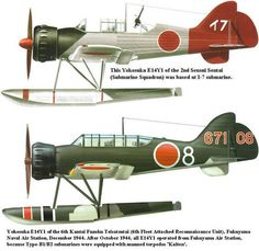 The Yokosuka E14Y (Allied reporting name 'Glen') was an Imperial Japanese Navy reconnaissance seaplane transported aboard and launched from Japanese submarine aircraft carriers such as the I-25 during World War II. ~ BFD